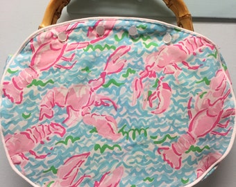 Ladies Bamboo Handle Bermuda Bag With My Large Oversized Cover. Handles and Covers are All CUSTOM HANDMADE by Me Please REaD the Description