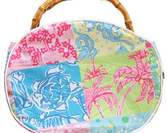 The ONLY One! Lilly Commemorative YEAR 2000 fabric Ladies Bamboo Handle Bermuda Bag With My Large Oversized Cover. Free Shipping!!