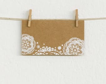 Place Cards - Doily embossed on Kraft