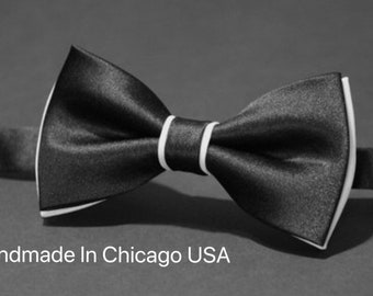8a409cefbf11 Mens Bow Tie Black and Ivory Tie Wedding Bow Tie Satin Bow Tie Bow TieFor Men  Gift For Men Gift Tie Bow Groomsmen Grooms Tiebow Ivory Bowtie