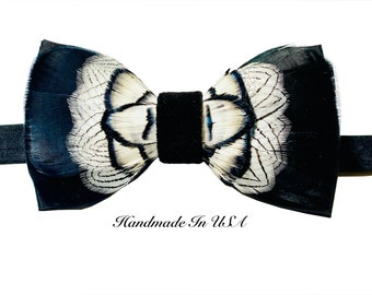 Self Tied Silk Bow Tie Liberty Style floral Woven Print Navy BlueLilac with Hook /& Clasp fitting