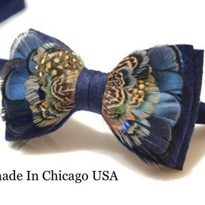 Mens Custom Feathered BowTie Navy Blue and blue with orange accent BowTie Wedding Bow Tie BowTie for Men Gift Genuine Feathers BowTie