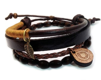 Leather bracelet - 9101 - Mens bracelet - Friendship bracelet - Mens Jewelry - Adjustable