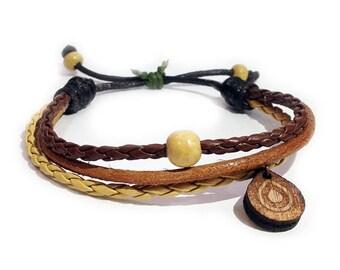 Leather bracelet - 9514 - Mens bracelet - Friendship bracelet - Mens Jewelry - Adjustable