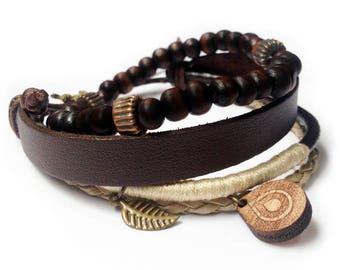 Leather bracelet - 9102 - Mens bracelet - Friendship bracelet - Mens Jewelry - Adjustable