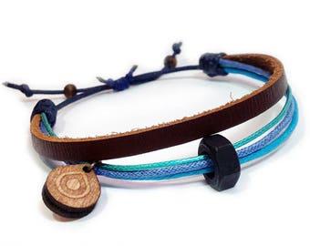 Leather bracelet - 9504 - Mens bracelet - Friendship bracelet - Mens Jewelry - Adjustable
