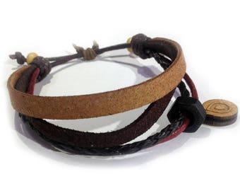 Leather bracelet - 9516 - Mens bracelet - Friendship bracelet - Mens Jewelry - Adjustable