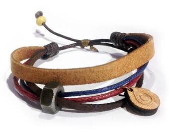 Leather bracelet - 9518 - Mens bracelet - Friendship bracelet - Mens Jewelry - Adjustable