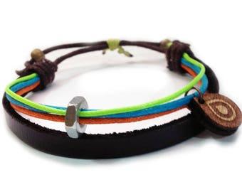 Leather bracelet - 9512 - Mens bracelet - Friendship bracelet - Mens Jewelry - Adjustable
