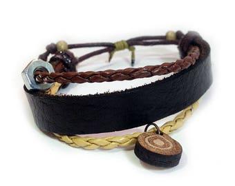 Leather bracelet - 9501 - Mens bracelet - Friendship bracelet - Mens Jewelry - Adjustable