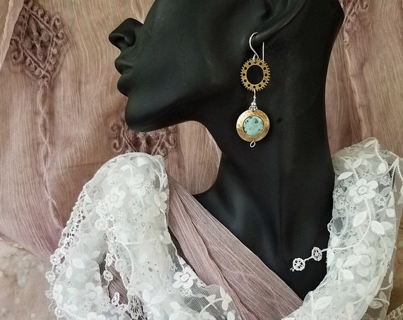 Bronze Steampunk/Boho Earrings with Turquoise Glass Bead, Eclectic Design, Hypoallergenic, Nickel-Free, Vegan-Friendly, Copper Witch Designs