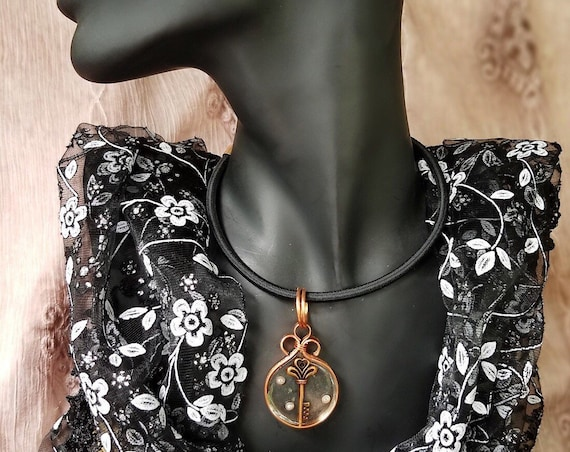 Copper and Resin Necklace with a Key and Seed Pearls, with a Hint of Steam Punk, Hypoallergenic, Nickel Free, Copper Witch Designs