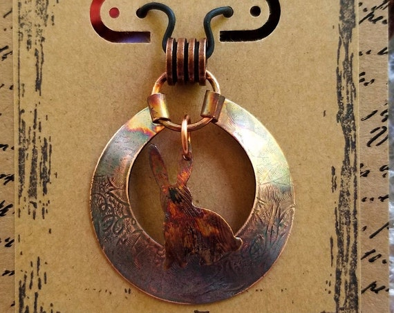 Hand Crafted Pendant Featuring A Copper Rabbit Resting on a Delicately Textured Copper Medallion, Can Be Personalized, Statement Jewelry