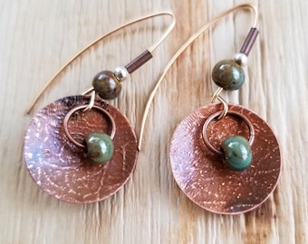 Rustic Textured Copper Drop Earrings with Antique Finish and Porcelain Beads, Boho Earrings, Drop Earrings