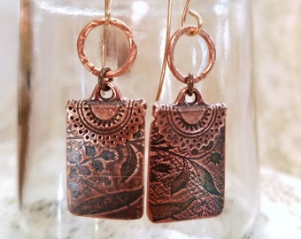 Artisan Crafted Copper Earrings, Elegant Boho Drop Earrings, Rectangular, Lily of the Valley Texture with Antique Finish.