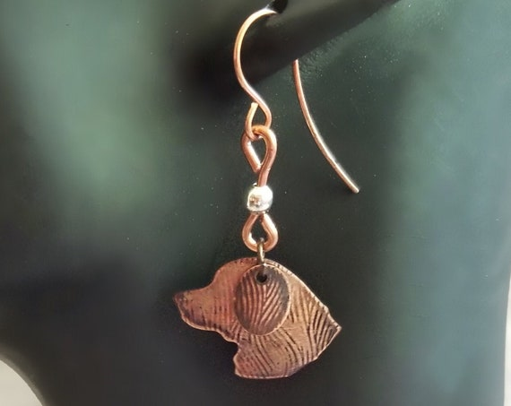 Hand Crafted Copper Drop Earrings Featuring Retriever Silhouette, Textured Antique Finish, Hypoallergenic, Statement Jewelry for Pet Lovers