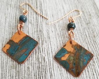 Copper Verdigris Drop Earrings With Porcelain Bead, Boho Earrings, Hippie Earrings, Drop Earrings, Geometric Earrings