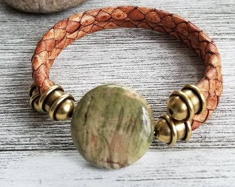 Braided Leather Memory Wire Bracelet with Green Jasper Focal Bead, Brass End Caps, Men's Bracelets, Women's Bracelets, Unisex Bracelets