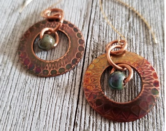 Artisan Crafted Copper Earrings with Tribal Mandalla Texture, Antique Finish, Porcelain Bead, Boho Earrings, Drop Earrings