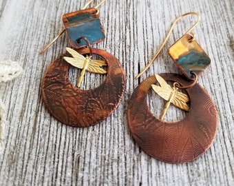 Artisan Crafted 2-Part Copper Earrings Delicately Textured, Brass Dragonfly, Antique and Verdigris Finished, Boho Earrings, Drop Earrings