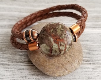 Braided Leather Memory Wire Bracelet with Natural Jasper Focal Bead, Copper End Caps, Women's Bracelets, Men's Bracelets, Unisex Bracelets