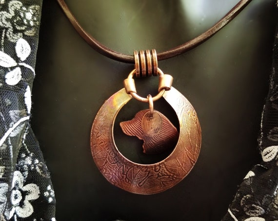 Hand Crafted Copper Medallion with Suspended Retriever Silhouette For Dog Lovers, Can be Personalized, Statement Jewelry