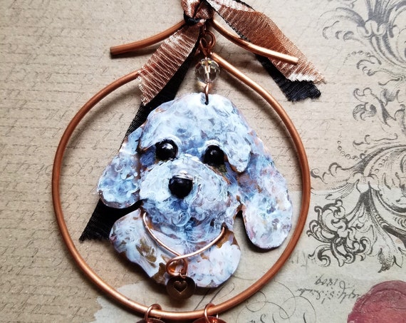 Artisan Crafted Relief Sculpture of a Poodle, Pet Ornament or Memorial, Hand Sculpted and Hand Painted, Adorned with Swarovski Crystals