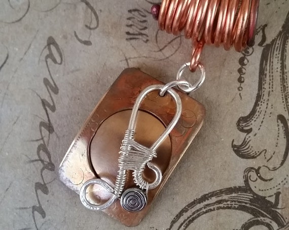 Unique Copper and Brass Multi-Layered Pendant With Stamped Metal