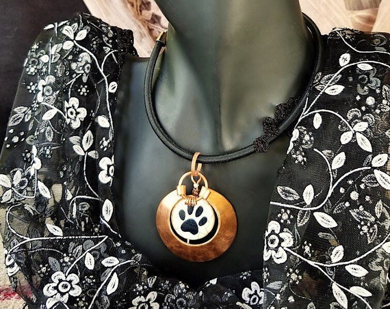 Hand Crafted Copper Necklace with White Ceramic Bead & Black Paw Print Framed Within Elegant Textured Copper Circle, Unique, Bold Design