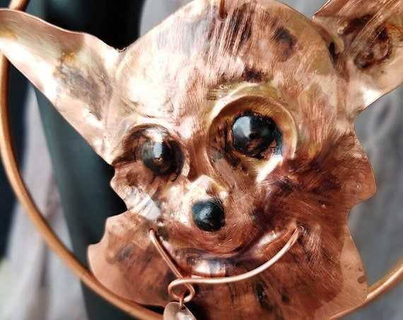 Hand Forged Chihuahua Relief Sculpture in Copper, Hand Painted, Suspended in Copper Wreath, perfect Gift for Chihuahua Lovers!