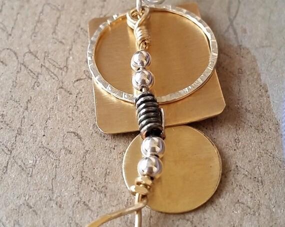 Multi-Layer Bronze, Silver and Gold Slide Pendant
