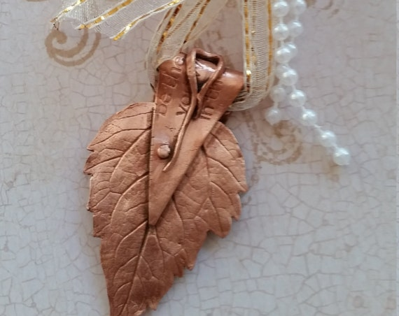 Copper Leaf Holiday Ornament (#4)
