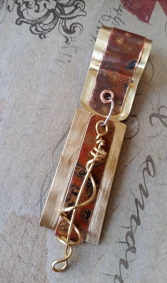 Bronze and Copper Slide Pendant