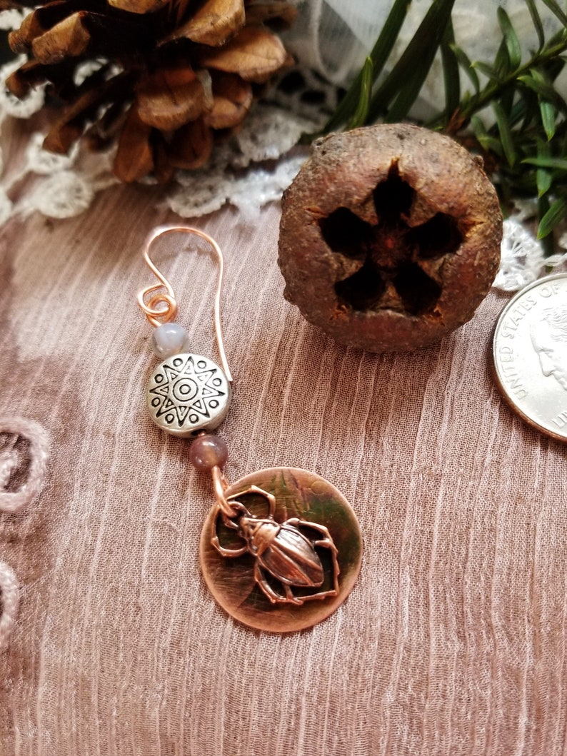 Rustic Copper and Silver Scarab Earrings Hand crafted Boho image 0