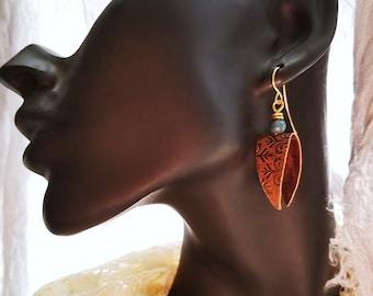 Textured Copper Drop Earrings With Porcelain Bead, Unique Open Design, Boho Earrings, Hippie Earrings, Drop Earrings, Geometric Earrings