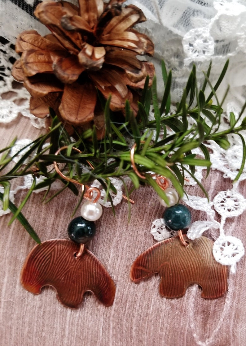 Copper Bear Earrings Hand Made with Agate and Swarovski image 0