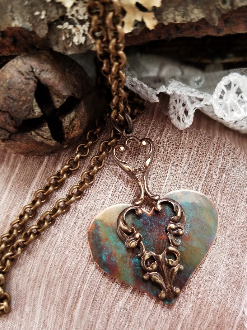 Boho Heart Pendant Necklace with Antique Brass Filigree. Hand image 0