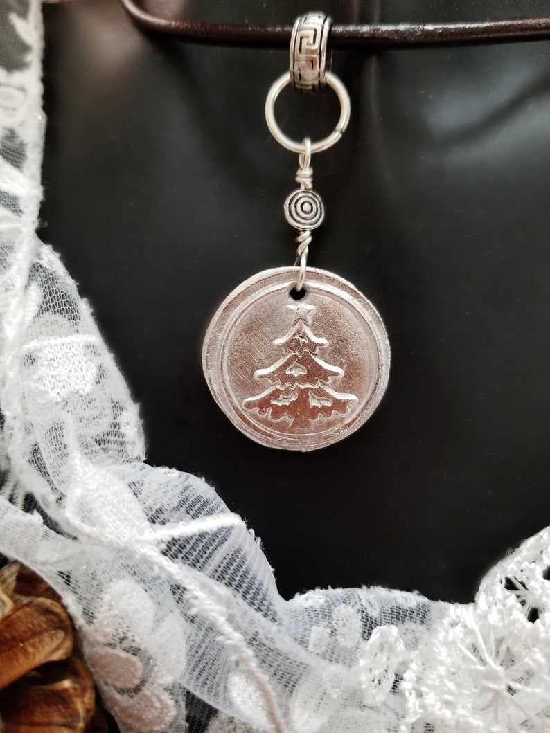 Silver Christmas Tree Holiday Necklace on Leather Choker image 0