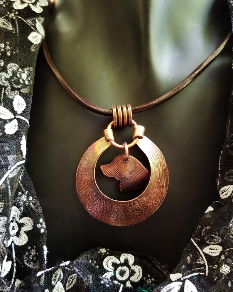 Hand Crafted Copper Medallion with Suspended Retriever image 0