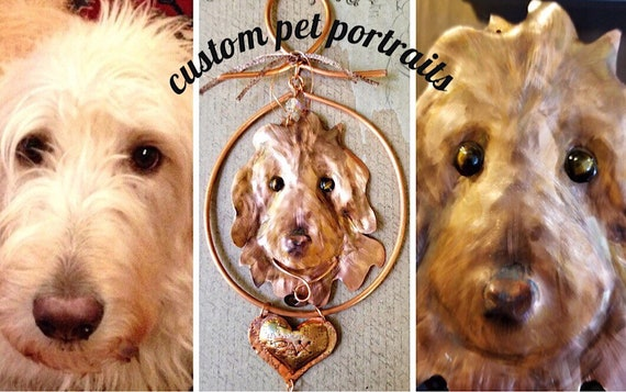 Custom Pet Portraits in Copper, Hand Crafted from Your Pet's Photo, One of a Kind, Unique, Great Gift for Pet Lovers, Copper Witch Designs