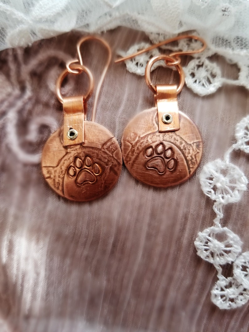 Paw Print Earrings for Pet Lovers Hand Stamped and Textured image 0