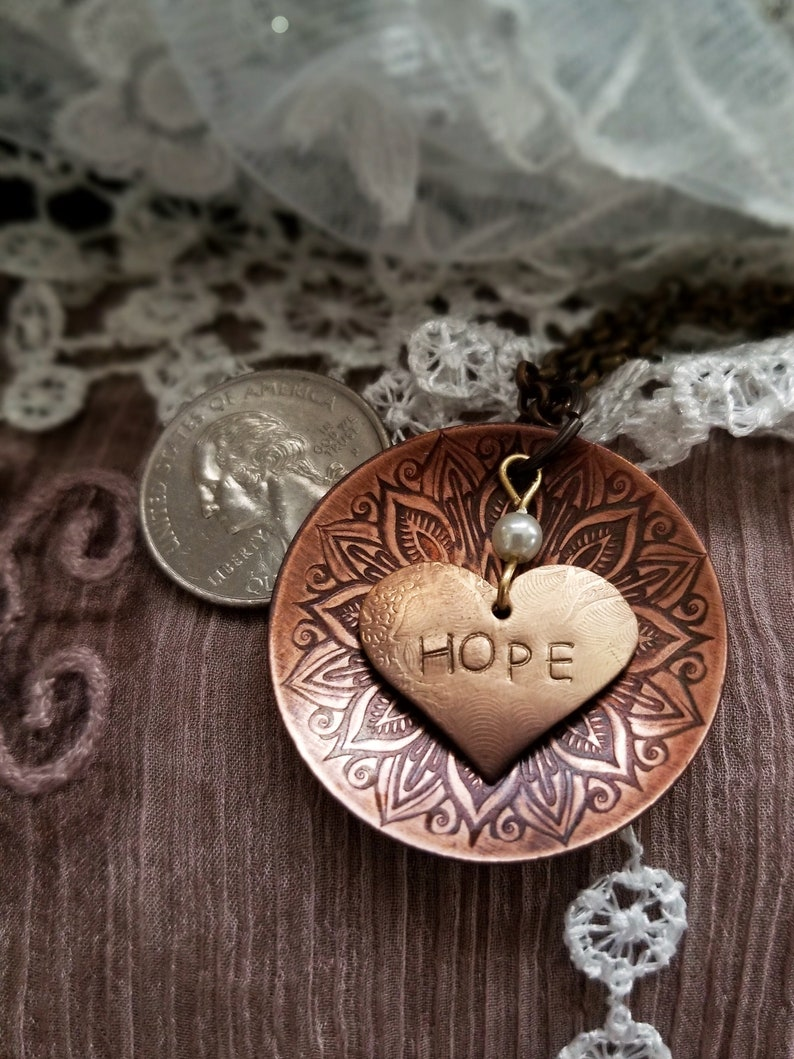 Inspirational Necklace With Heart-Shaped Affirmation Charm on image 0