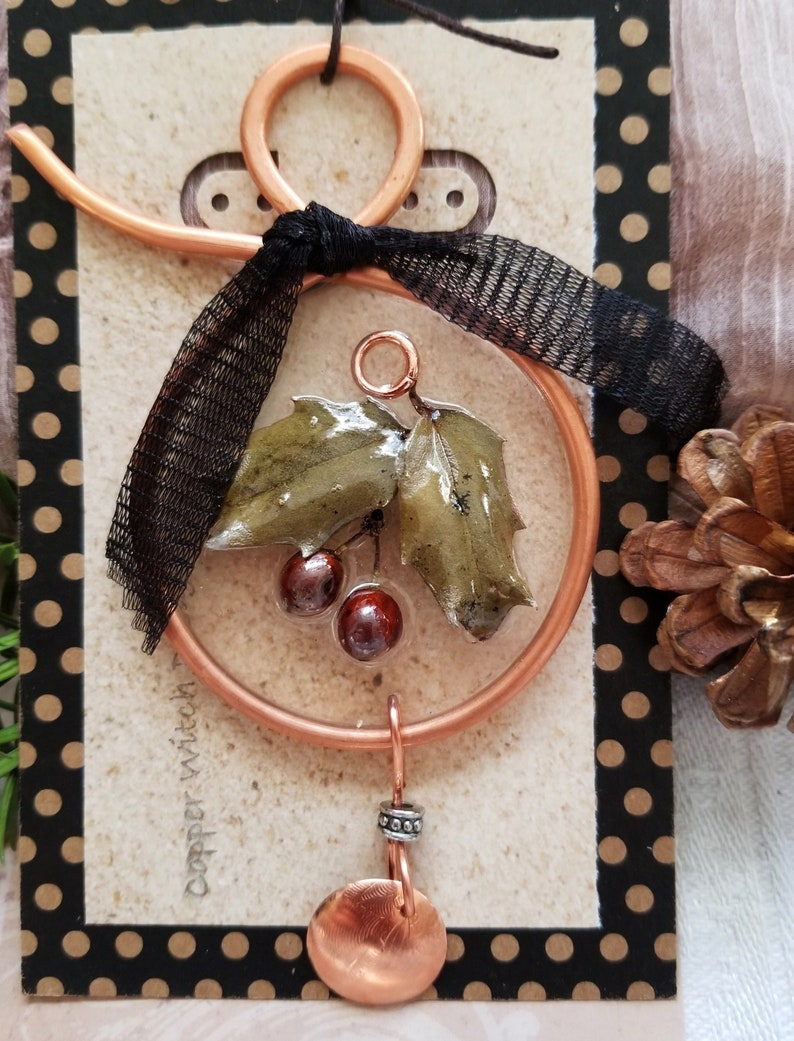 Hand Made Resin Holly and Copper Christmas Ornament Hand image 0