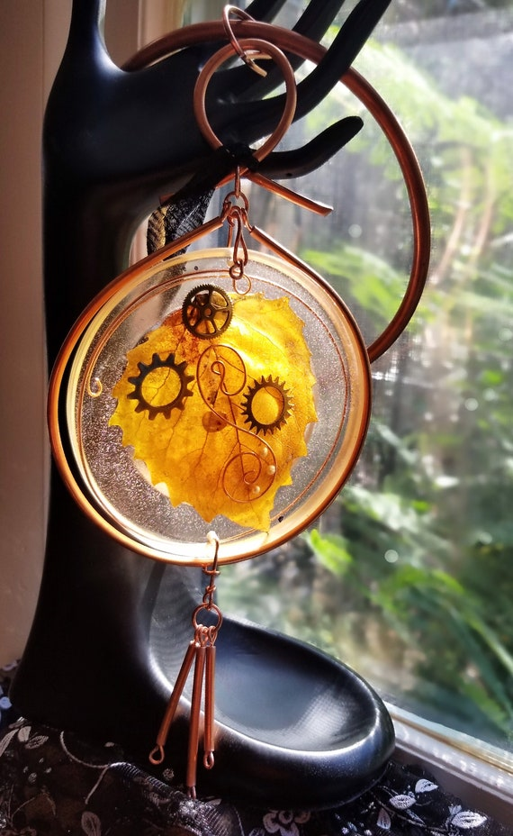 Copper and Resin Sun Catcher Featuring Autumn Leaf, Sun Catcher/Wall Hanging, Home Accent Decor, Copper Witch Designs