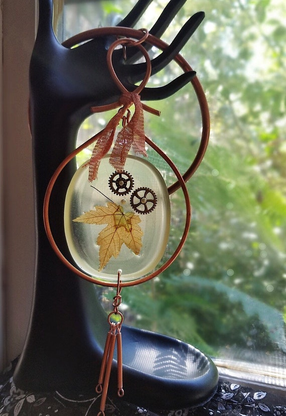 Copper and Resin Sun Catcher/Wall Hanging Featuring Fall Maple Leaf, Nature Art, Home Decor, Vegan Friendly, Copper Witch Designs