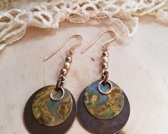 Bronze Verdigris Drop Earrings With Swarovski Pearls, Boho Earrings, Hippie Earrings, Drop Earrings, Geometric Earrings