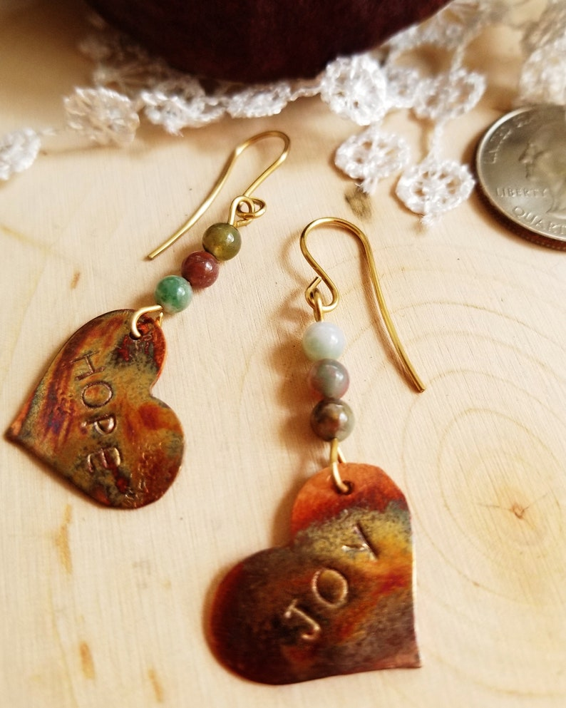 Hand Made Copper Heart Earrings with Hope and Joy Affirmation. image 0