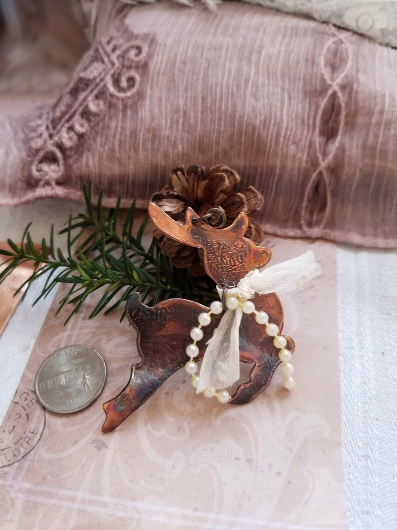 Elegant Keepsake Reindeer Hand Made Christmas Ornament Hand image 0