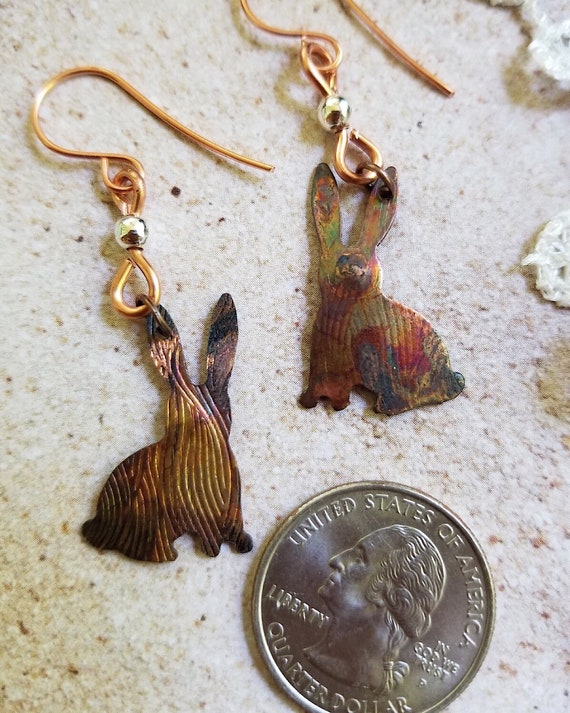 Hand Crafted Copper Rabbit Earrings for Bunny Lovers! Textured Antique Finish, Statement Jewelry for Rabbit Lovers, Hypoallergenic