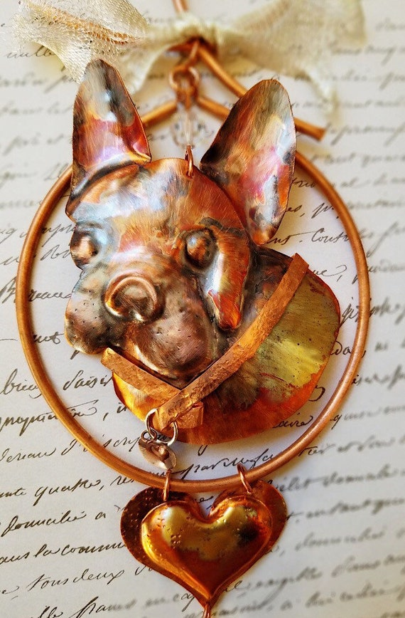 French Bull Dog Ornament/Memorial, Hand Forged and Painted, Suspended in a Copper Wreath and Adorned with Swarovski Crystals